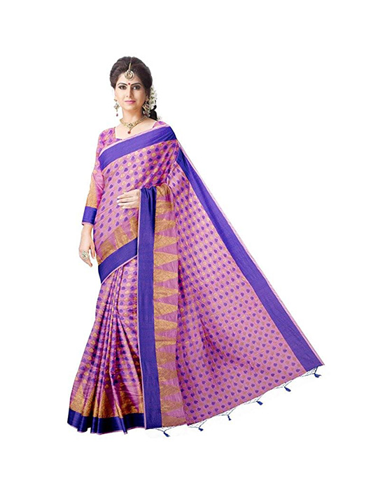 Kora Silk Purple Saree With Blouse Piece