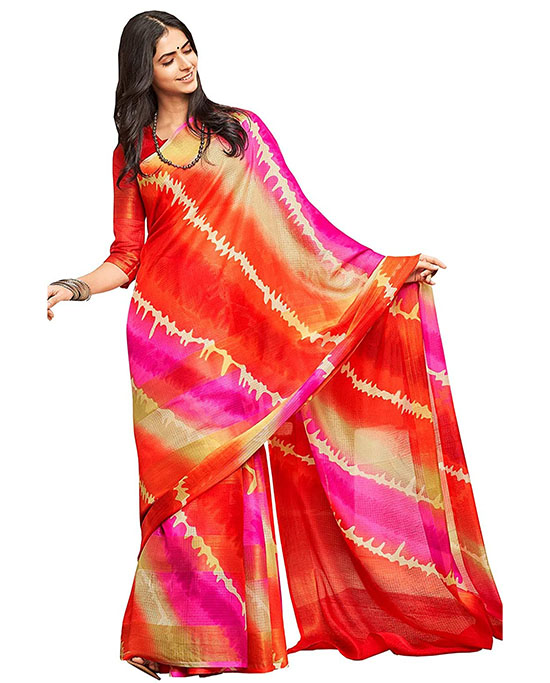 Kora Silk Red & Pink Saree