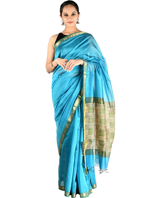 Kosa Art Silk Saree (Blue)