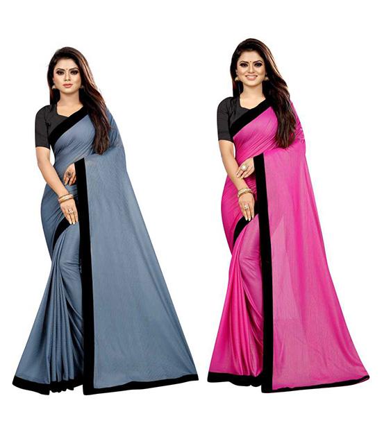 Kosa Lycra Blend Saree Pack of 2, Pink, Grey