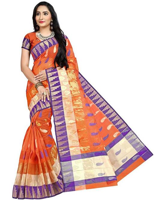 Kosa Poly Silk Saree Blue, Orange