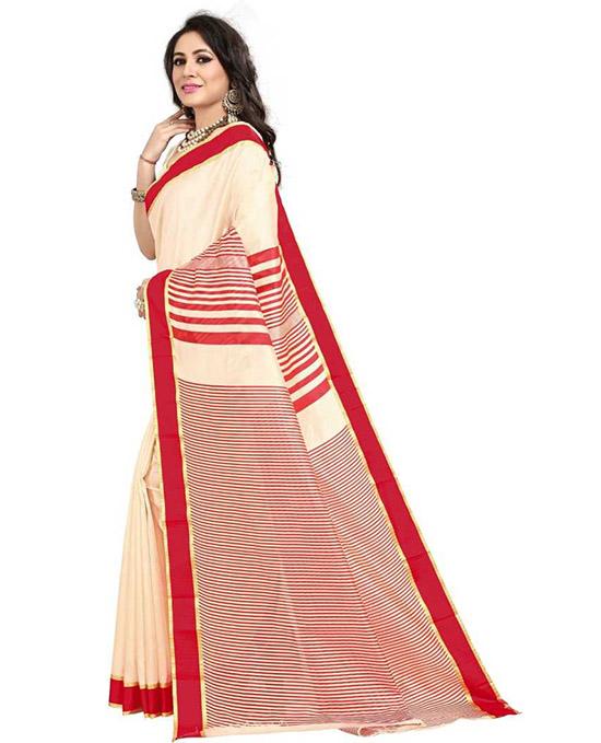Kosa Poly Silk Saree Red, White
