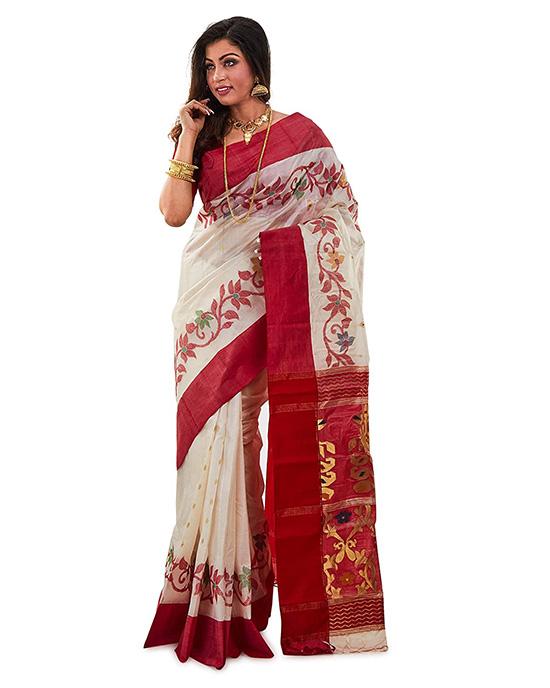 Kosa Silk Handloom Jamdani Dhakai Saree Red And White