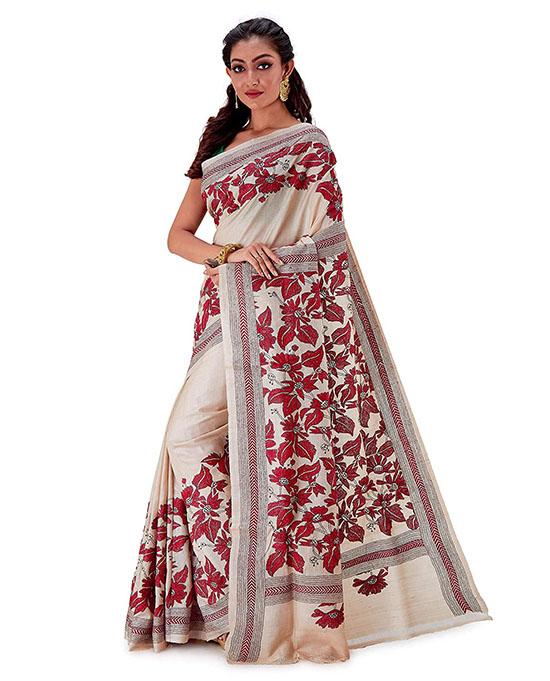 Kosa Silk Handloom Kantha Stitch Saree Beige