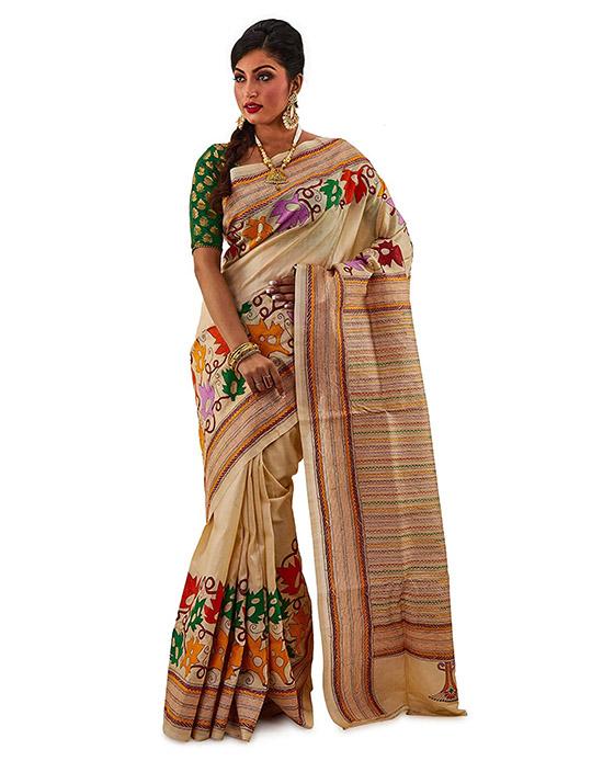 Kosa Silk Handloom Kantha Stitch Saree Multicoloured