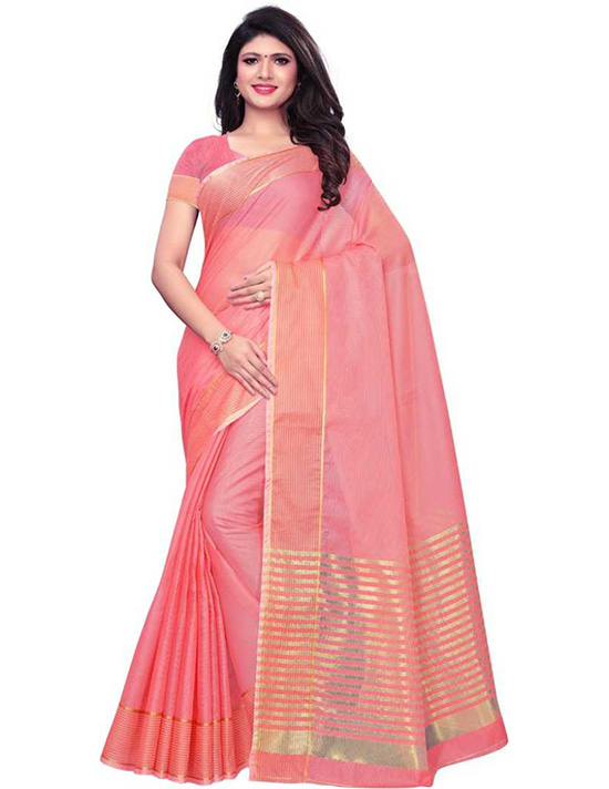 Kota Doria Cotton Blend, Poly Silk Saree Pink