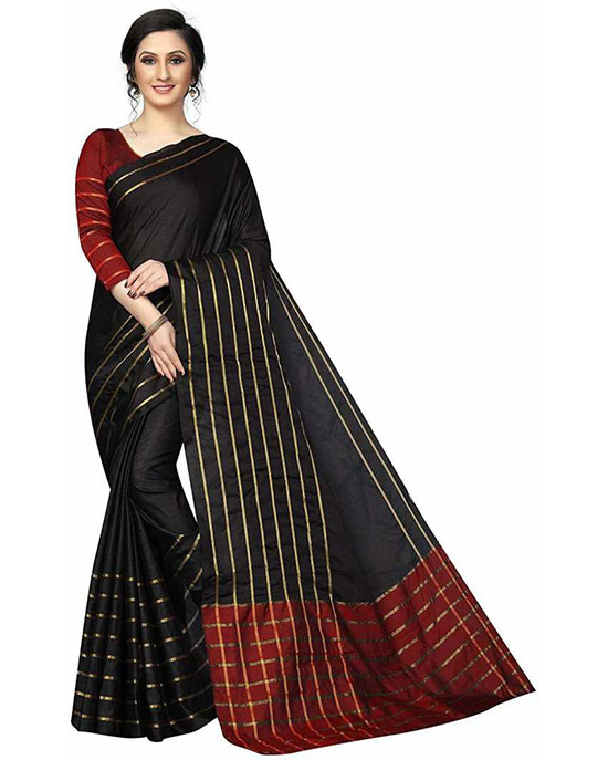Kota Doria Cotton Blend Saree Black