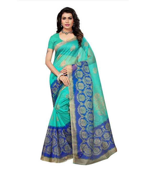 Kota Doria Cotton Blend Saree  Green