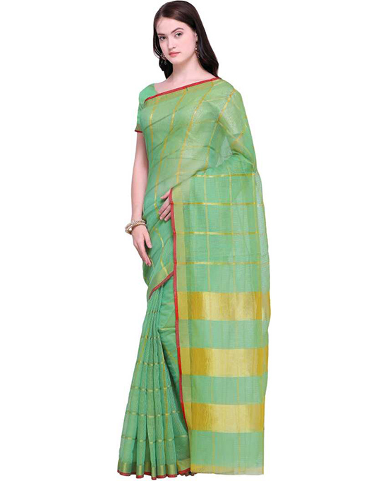 Kota Doria Cotton Blend Saree Light Green