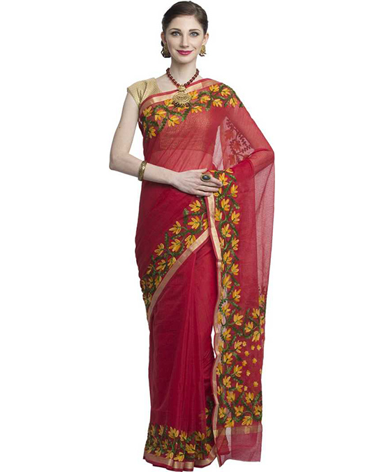 Kota Doria Cotton Blend Saree  Red, Green, Yellow