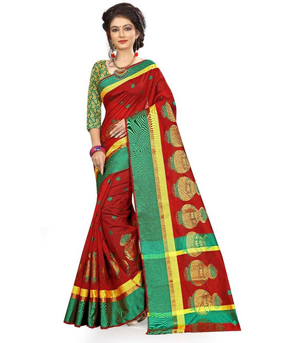 Kota Doria Cotton Blend Saree Red