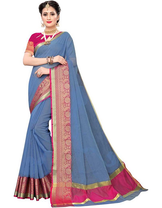 Kota Doria Cotton Silk Saree  Blue, Pink