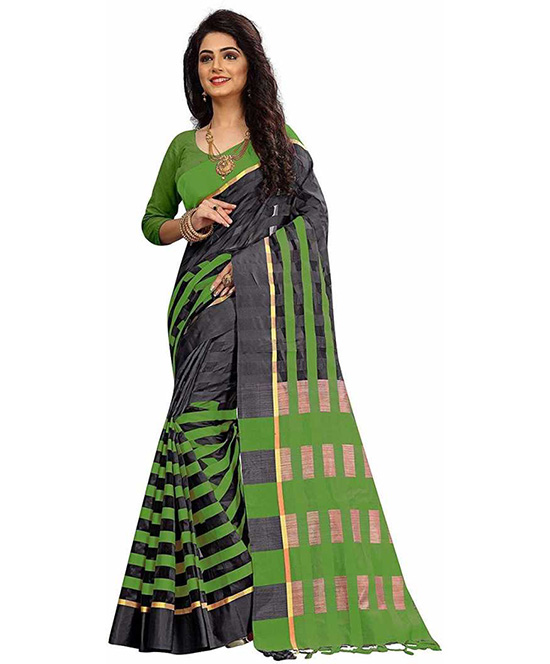 Kota Doria Cotton Silk Saree  Green, Black