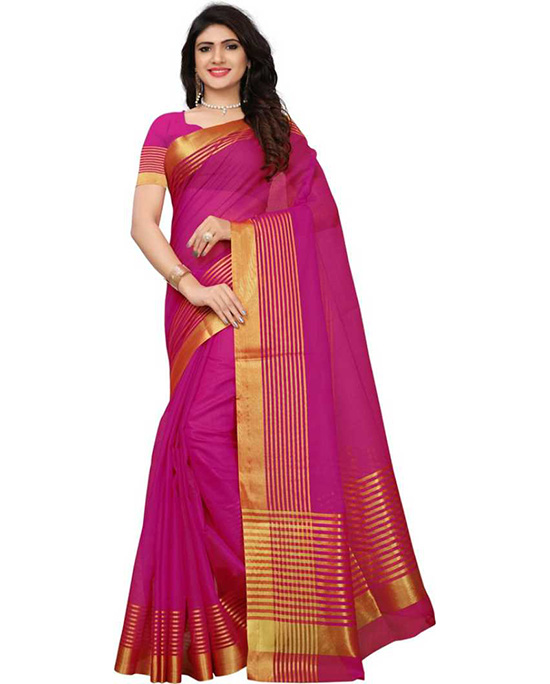 Kota Doria Cotton Silk Saree Pink