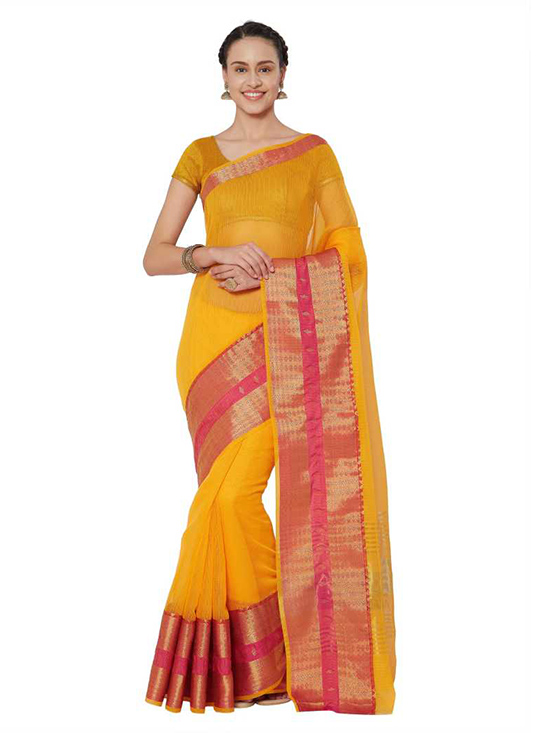 Kota Doria Cotton Silk Saree Yellow