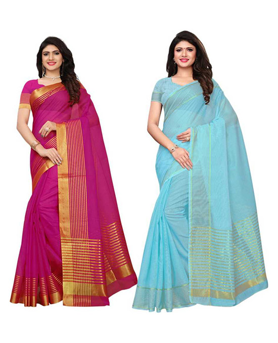 Kota Doria Polycotton, Poly Silk Saree  Pack of 2, Magenta, Light Blue