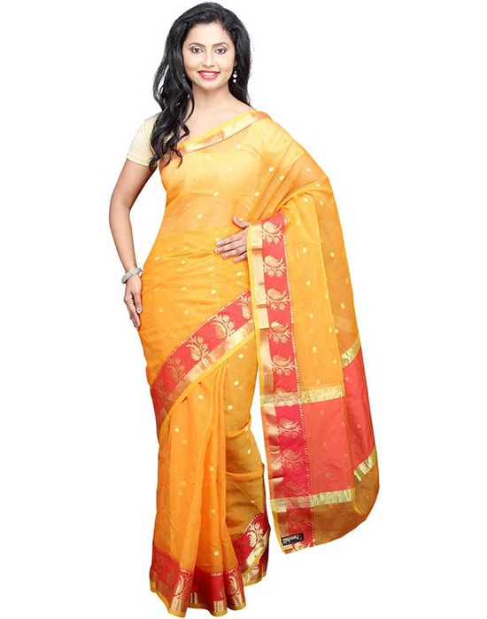 Kota Doria Pure Cotton Saree  Gold
