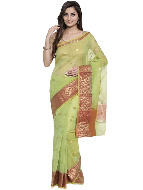Kota Doria Pure Cotton Saree Green