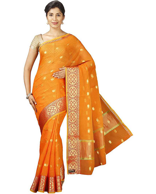 Kota Doria Pure Cotton Saree Orange