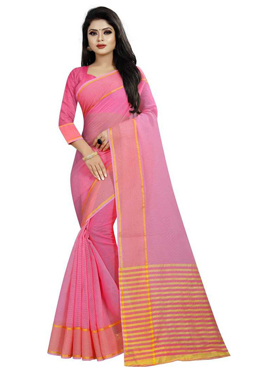 Kota Doria Pure Cotton Saree (Pink)