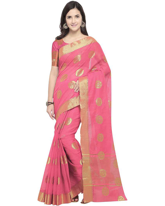 Kota Doria Pure Cotton Saree  Pink