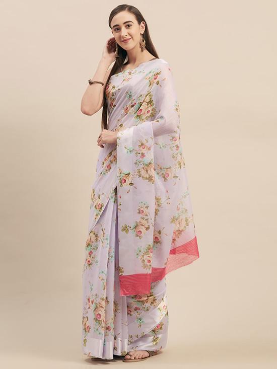 Linen Blend Printed Lavender & Green Saree