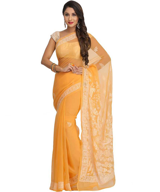 Lucknow Chikankari Georgette Saree Mustard