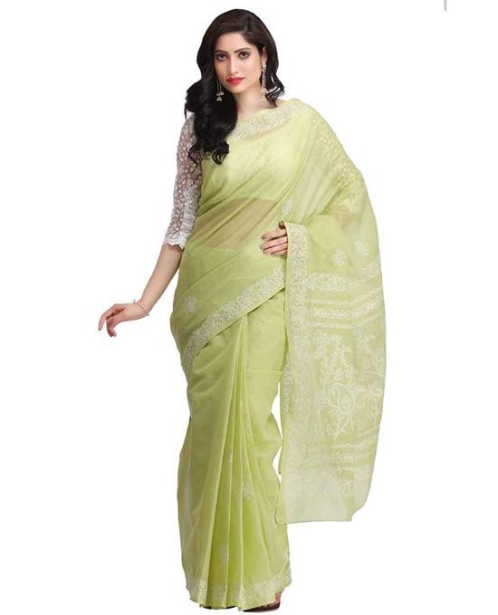 Lucknow Chikankari Handloom Cotton Blend Saree Green