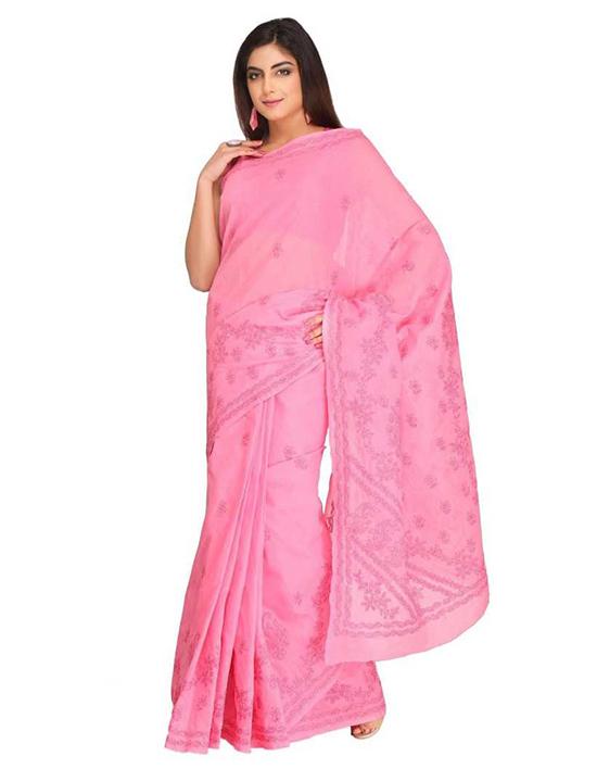 Lucknow Chikankari Handloom Cotton Blend Saree Pink