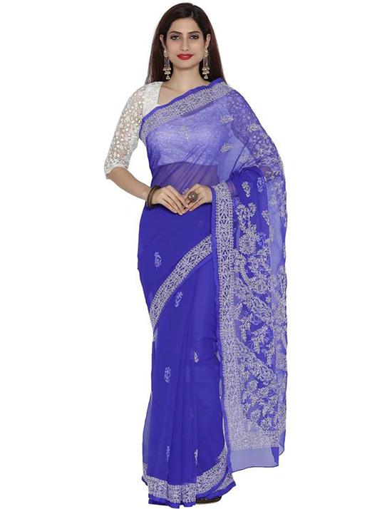 Lucknow Chikankari Handloom Georgette Saree Blue