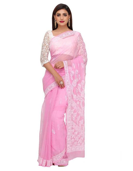 Lucknow Chikankari Handloom Georgette Saree Pink