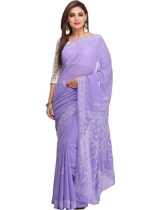 Lucknow Chikankari Handloom Georgette Saree (Purple