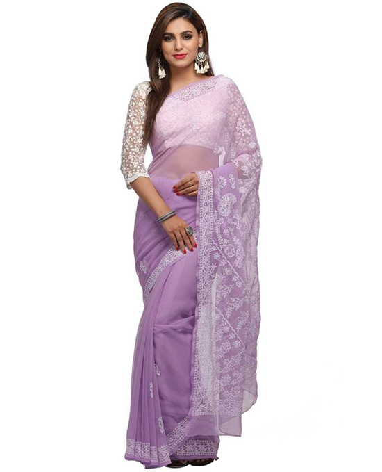 Lucknow Chikankari Handloom Georgette Saree Purple
