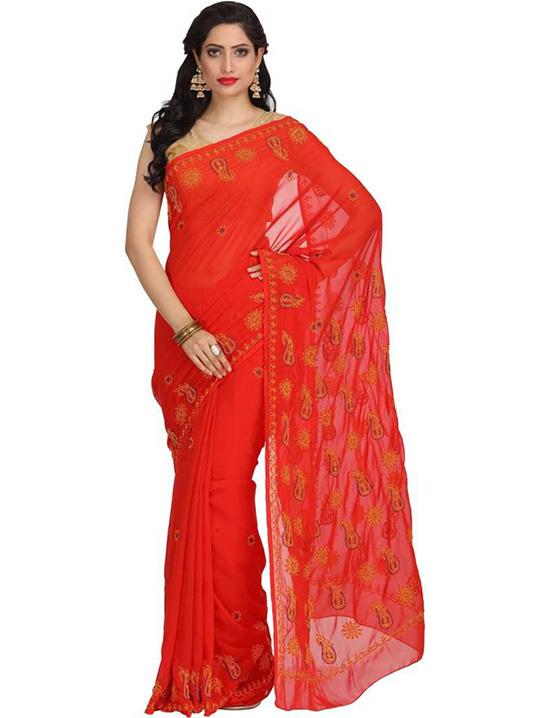 Lucknow Chikankari Handloom Georgette Saree Red