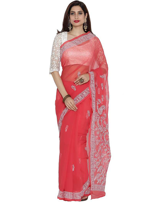 Lucknow Chikankari Handloom Georgette SareePink