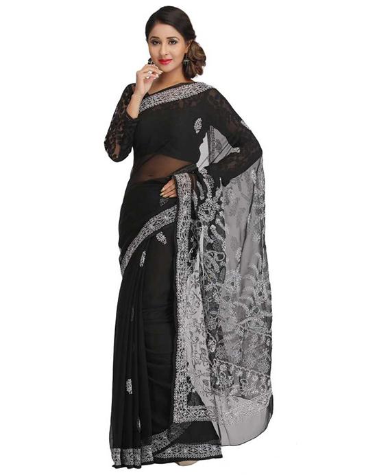 Lucknow Chikankari Handloom Poly Georgette Saree (Black