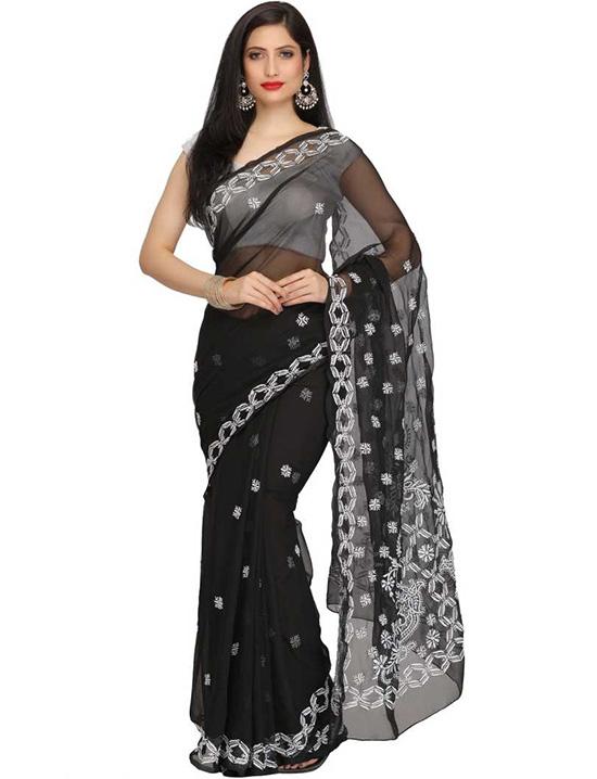 Lucknow Chikankari Handloom Poly Georgette Saree Black