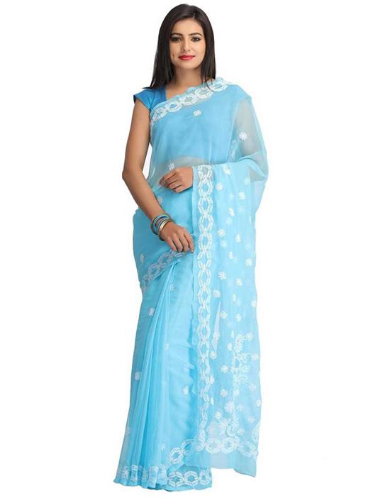 Lucknow Chikankari Handloom Poly Georgette Saree Blue