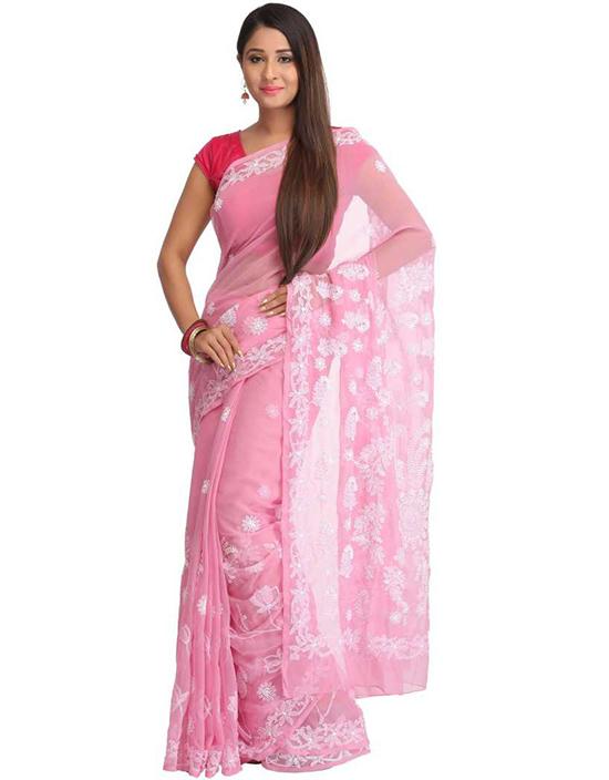 Lucknow Chikankari Handloom Poly Georgette Saree (Pink