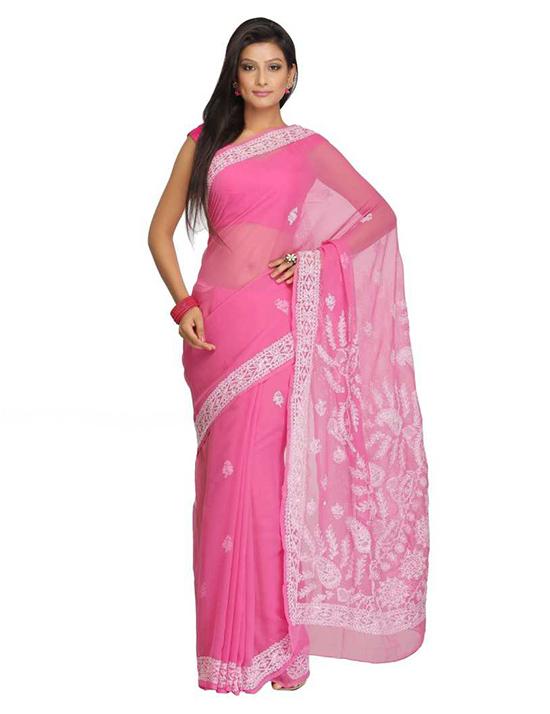Lucknow Chikankari Handloom Poly Georgette Saree Pink)