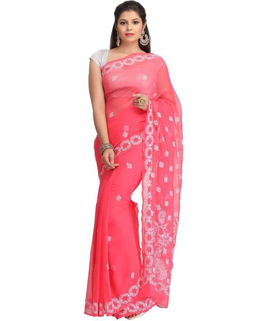Lucknow Chikankari Handloom Poly Georgette Saree Pink