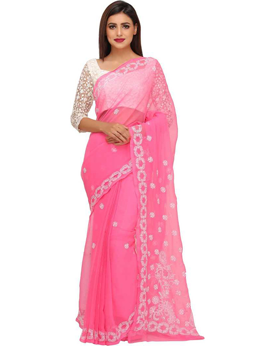 Lucknow Chikankari HandloomPink Georgette Saree