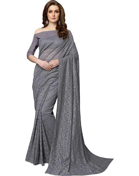Lucknow Chikankari Net Saree Grey