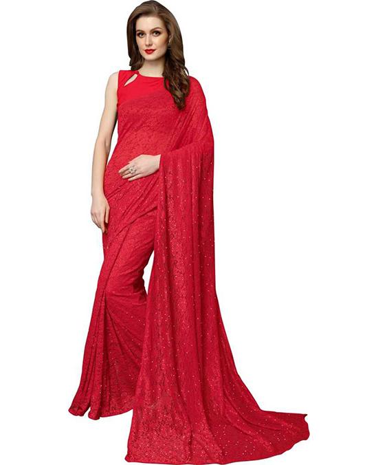 Lucknow Chikankari Net Saree Red