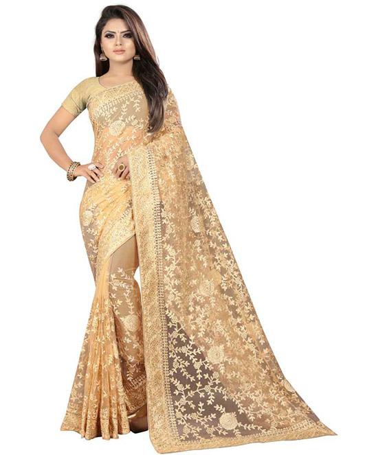 Lucknow Chikankari Nylon Blend Saree Beige
