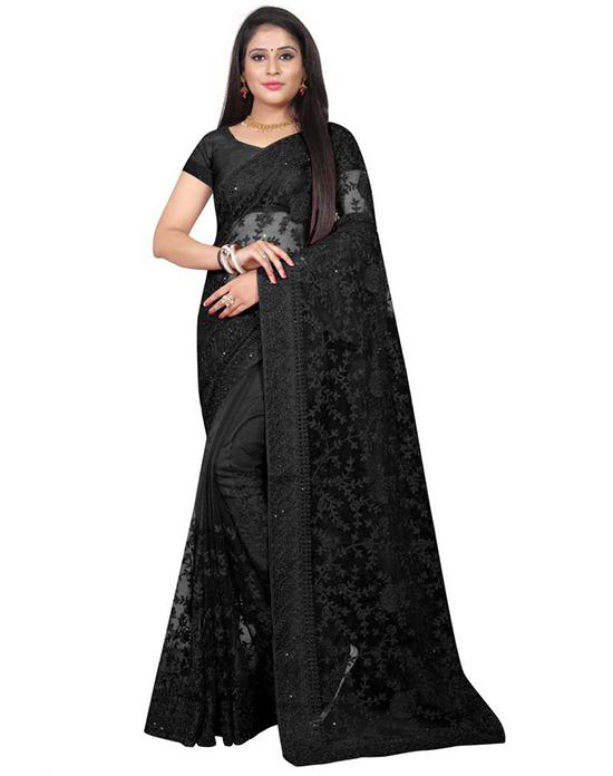 Lucknow Chikankari Nylon Blend Saree Black