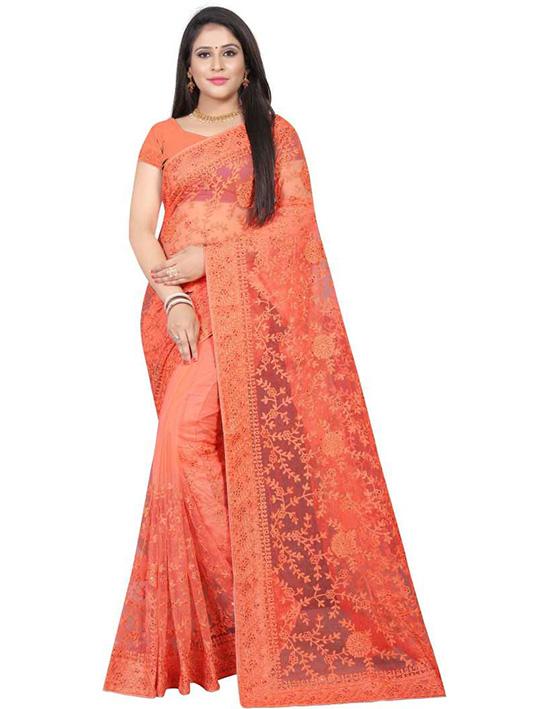 Lucknow Chikankari Nylon Blend Saree Orange