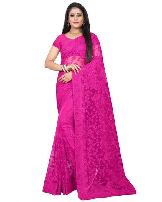 Lucknow Chikankari Nylon Blend Saree (Pink