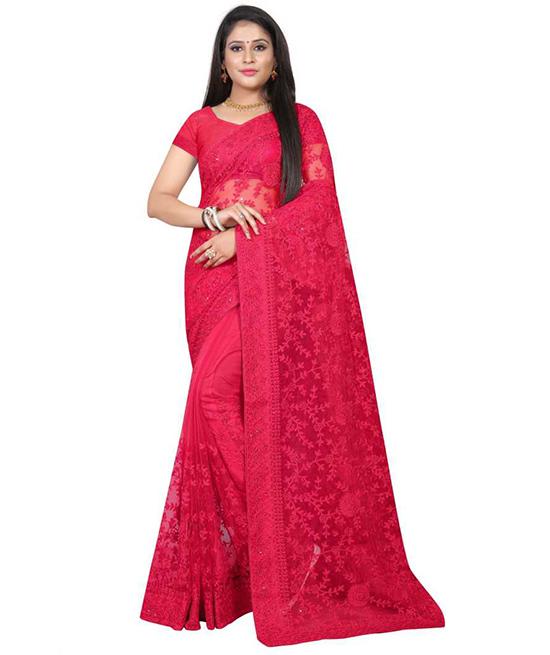 Lucknow Chikankari Nylon Blend Saree Red