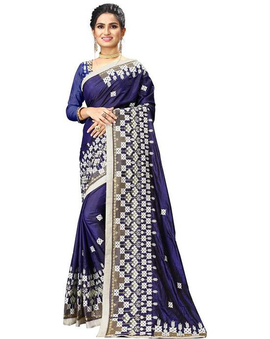 Lucknow Chikankari Poly Silk Saree Blue